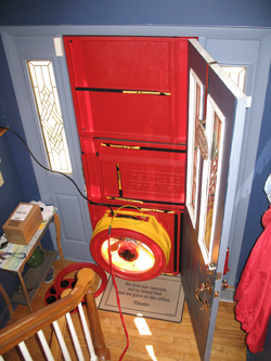Blower door test for Newark homes